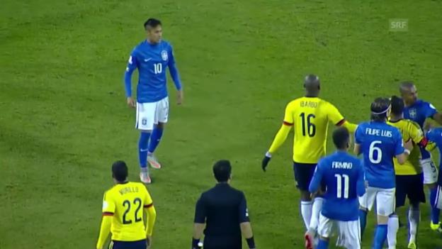 Video «Fussball: Copa America, Brasilien-Kolumbien, Neymar sieht Rot» abspielen