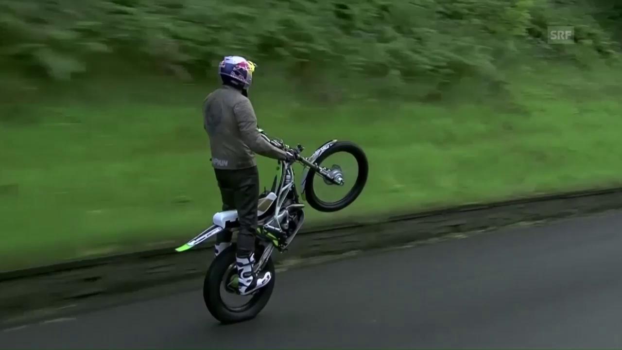 Lampkins «Wheelie» auf der Isle of Man