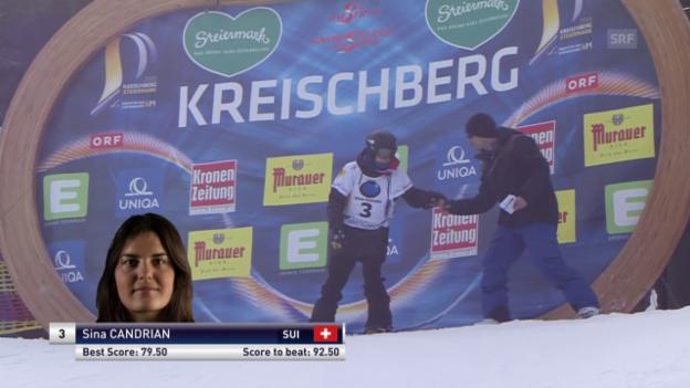 Video «Snowboard: Freestyle-WM - Slopestyle 3. Final-Lauf Sina Candrian» abspielen