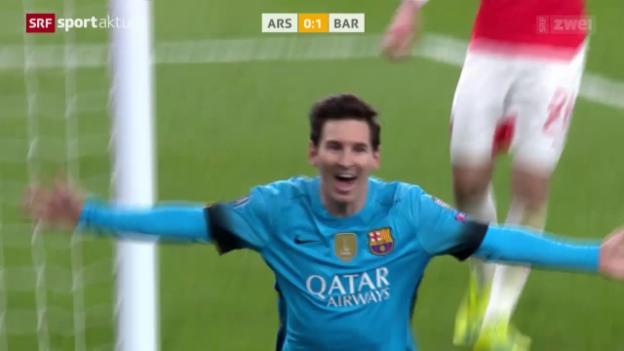Video «Barcelona siegt dank Messi-Doppelpack bei Arsenal» abspielen