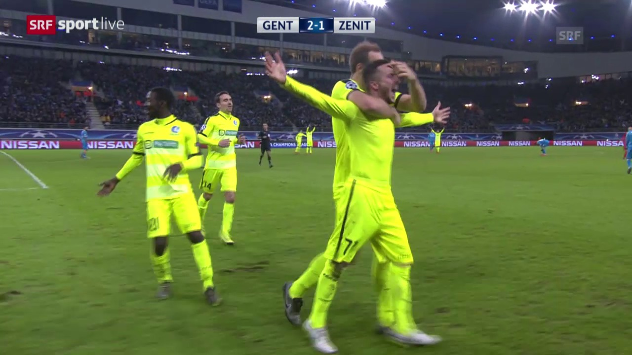 Fussball: CL, Gent-Zenit, Tor Danijel Milicevic