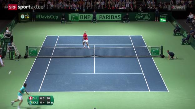 Video «Tennis: Davis-Cup-Viertelfinal Schweiz - Kasachstan» abspielen