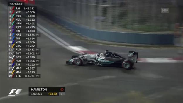 Video «Formel 1: GP Singapur, Impressionen von Hamilton im freien Training» abspielen