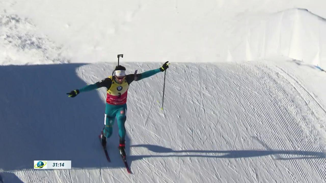 Martin Fourcade mit seinem Telemark-Sprung