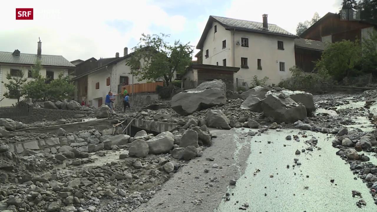 Dorf Pradella nach heftigem Gewitter verwüstet