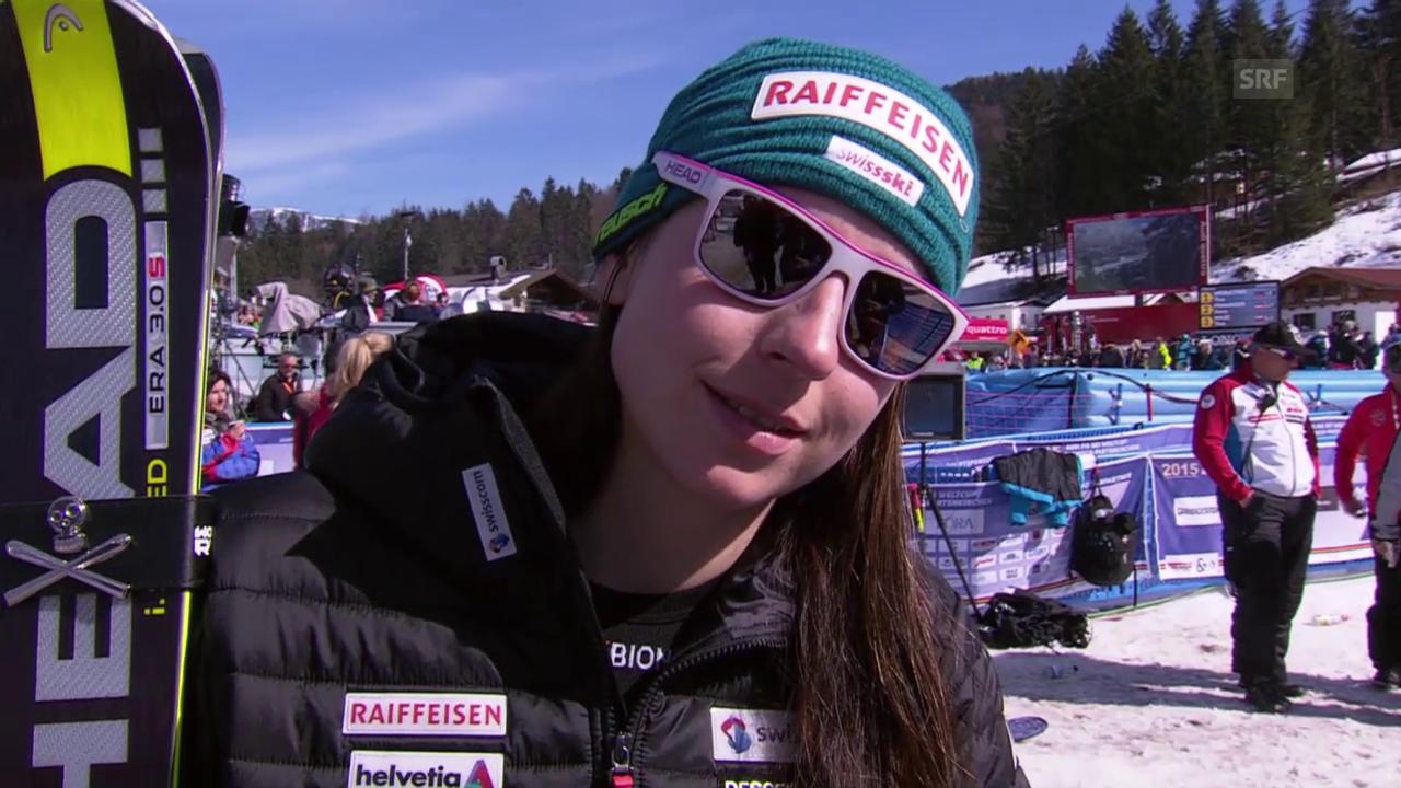 Ski alpin: Weltcup der Frauen, Abfahrt in Garmisch-Partenkirchen, Marianne Abderhalden im Interview