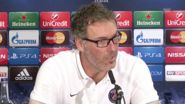 Video «Fussball: CL-Achtelfinal, Chelsea - PSG, Paris-Trainer Blanc vor dem Rückspiel» abspielen