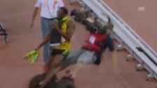Video «LA: WM in Peking, Bolt von einem Segway angefahren» abspielen