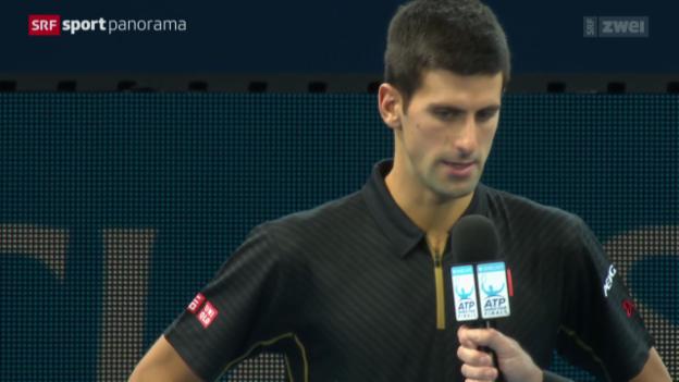Video «Tennis: ATP Finals, Novak Djokovic über das Forfait von Roger Federer» abspielen