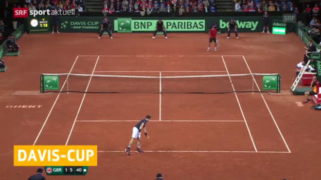Video «Davis Cup: Nach dem 1. Finaltag steht es 1:1» abspielen