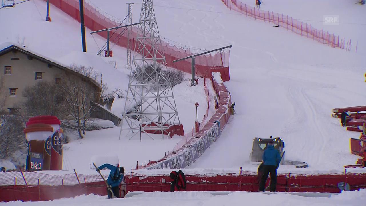 Schneeschaufeln statt Skifahren in Val d'Isère