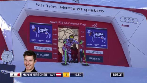 Video «Ski alpin: Riesenslalom in Val d'Isère, 2. Lauf von Marcel Hirscher» abspielen