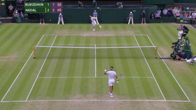 Video «Tennis: Wimbledon, 3. Runde, Matchball Nadal - Kukushkin» abspielen