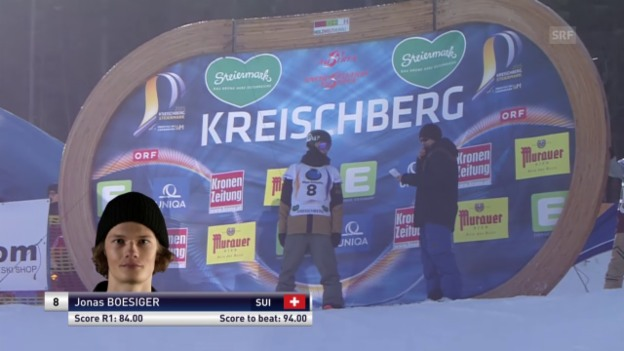 Video «Snowboard: Freestyle-WM - Slopestyle 2. Final-Lauf Jonas Boesiger» abspielen