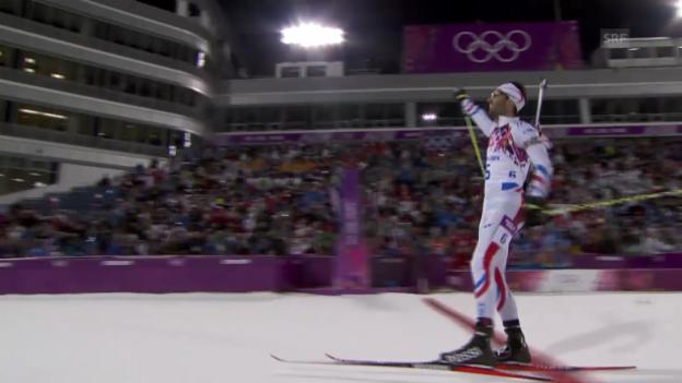 Video «Biathlon: Zusammenfassung Verfolgung Männer 12,5 km (10.02.2014)» abspielen