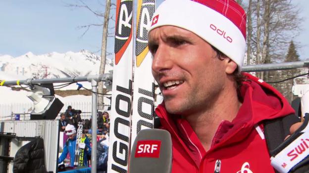 Video «Langlauf: 50 km Skating Männer, Interview mit Curdin Perl (23.2.2014)» abspielen