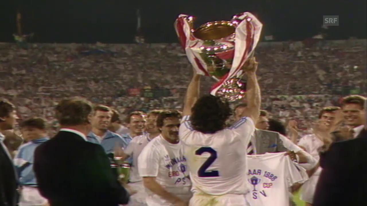 PSV Eindhoven gewinnt 1988 den Final des Meistercups gegen Benfica Lissabon