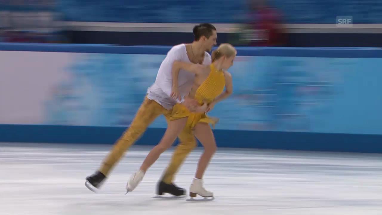 Eiskunstlauf: Siegerkür Woloschar/Trankow (sotschi direkt, 12.02.2014)