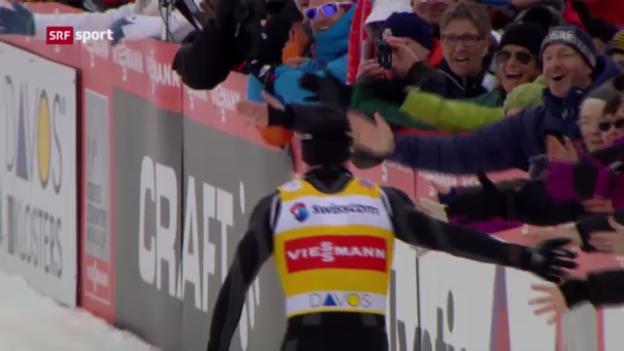 Video «Langlauf-Sprint in Davos («sportaktuell»)» abspielen