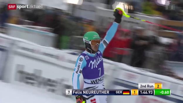 Video «Ski alpin: Weltcup in Wengen, Slalom Männer» abspielen