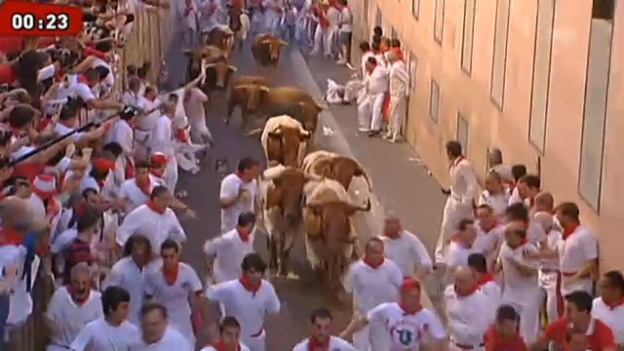 Video «San-Fermin-Fest in Pamplona begonnen» abspielen