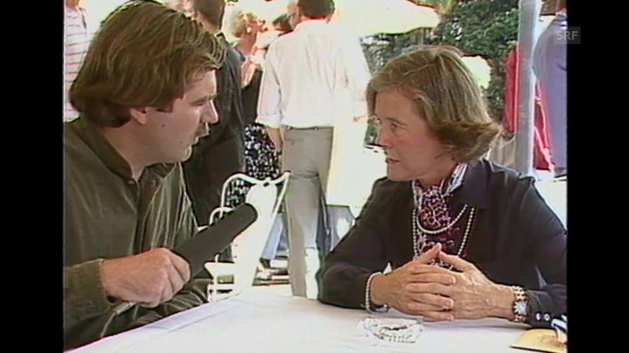 Elisabeth Kopp lobt Festivalmacher (Kamera läuft, 11.8.1985)