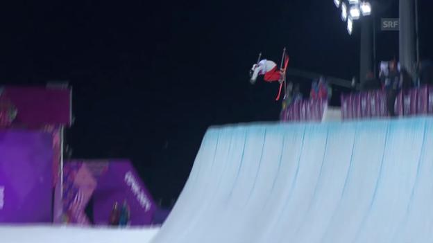Video «Ski Freestyle: Halfpipe Frauen, 2. Qualifikations-Run von Virginie Faivre (sotschi direkt, 20.02.2014)» abspielen