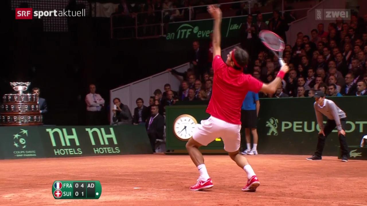 Tennis: Davis-Cup-Final in Lille, Monfils - Federer