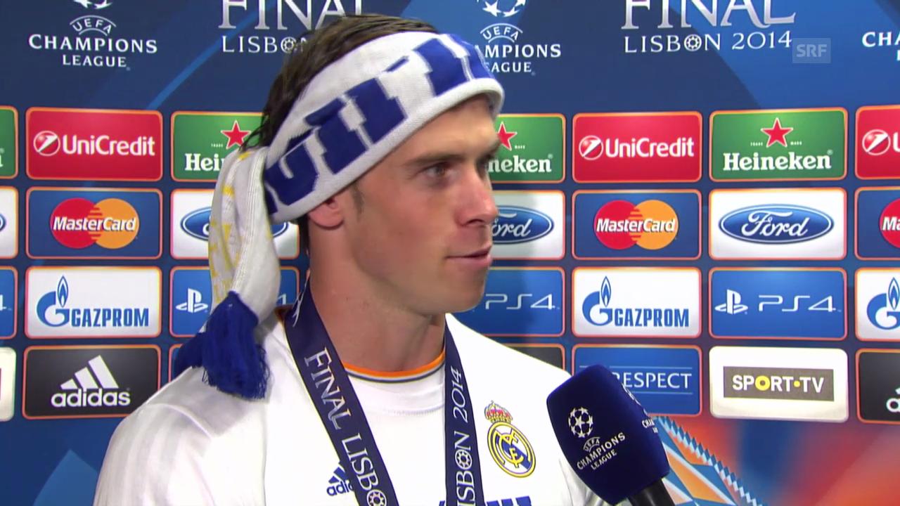 Fussball: CL-Final 2014, Interview Gareth Bale