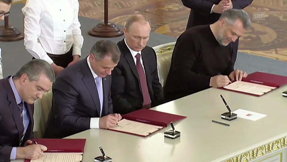Krim gehört zu Russland: Die Unterzeichnung des Vertrages