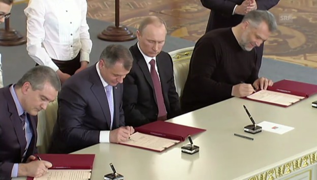 Video «Krim gehört zu Russland: Die Unterzeichnung des Vertrages» abspielen