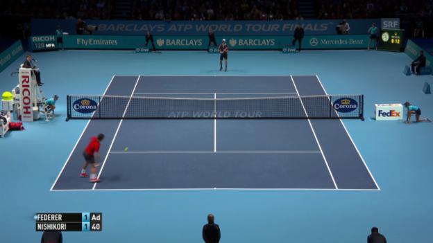 Video «Tennis: ATP Finals, wichtigste Punkte Federer - Nishikori» abspielen