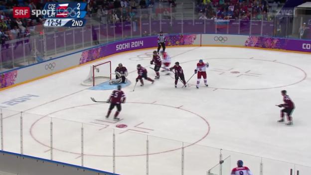 Video «Eishockey: Tschechien besiegt Lettland» abspielen
