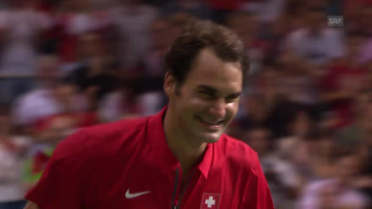 Tennis: Federer wird aus Interview «entführt»