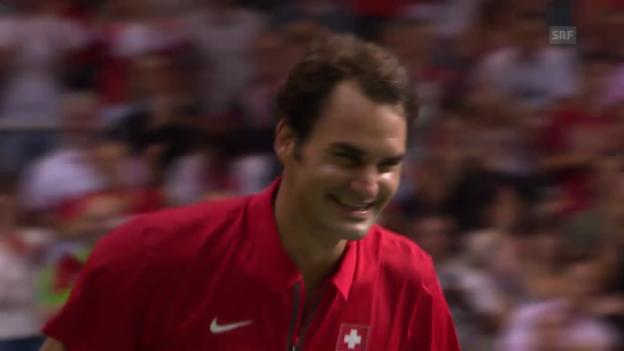 Video «Tennis: Federer wird aus Interview «entführt»» abspielen