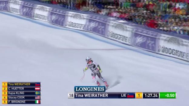 Video «Tina Weirather stellt neue Bestzeit auf» abspielen