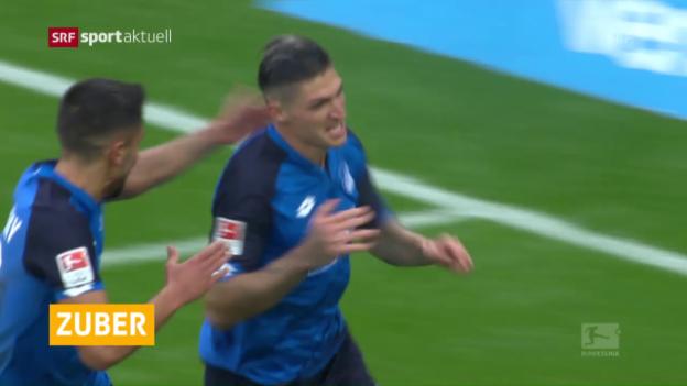 Video «Steven Zuber erzielt sein erstes Saisontor für Hoffenheim» abspielen