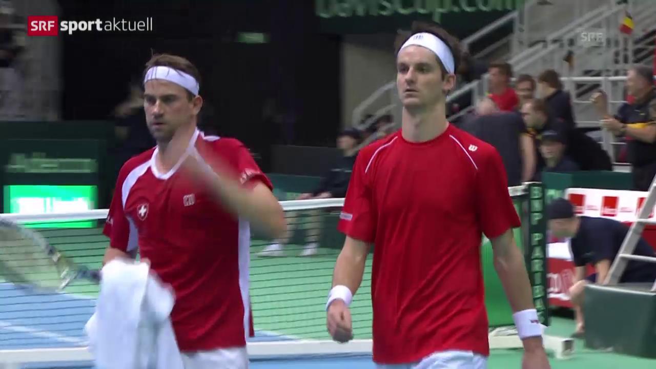 Tennis: Davis Cup, Belgien - Schweiz, das Doppel