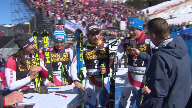 Video «Stimmen zum Schweizer Sieg im Team-Wettkampf («sportlive», 14.3.2013)» abspielen