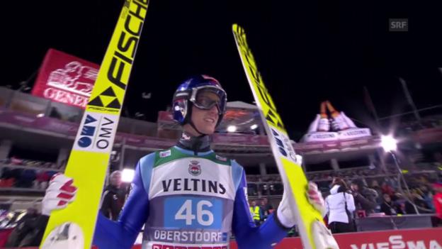 Video «Skispringen: Schlierenzauers 1. Sprung in Oberstdorf» abspielen