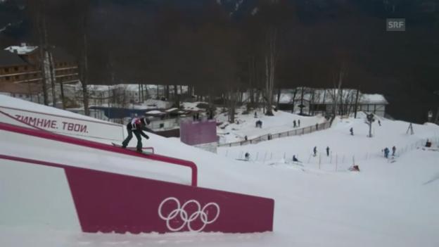 Video «Snowboard Slopestyle: Der 1. Run von Isabel Derungs (sotschi direkt, 9.2.2014)» abspielen