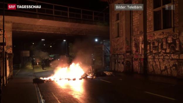 Video «Krawalle vor «Reitschule» in Bern» abspielen