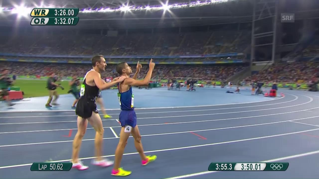 Der Finish im 1500-m-Rennen der Männer
