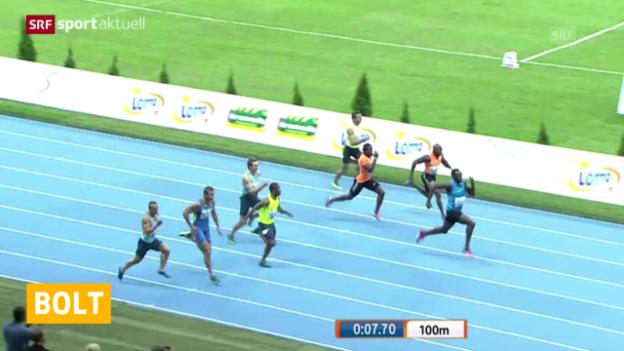 Video «Leichtathletik: Meeting Warschau, 100-m-Rennen Männer» abspielen