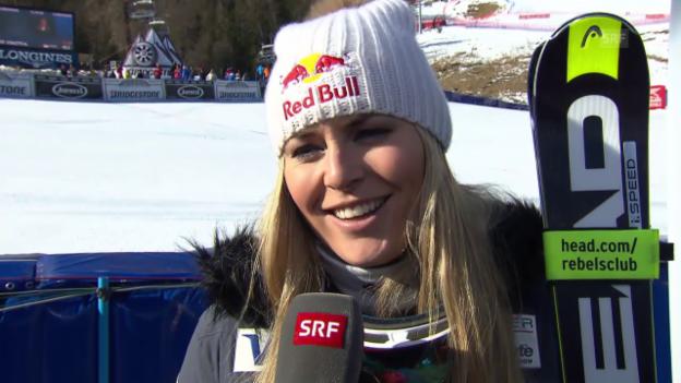 Video «Lindsey Vonn spricht über ihren Abfahrtssieg in Cortina» abspielen