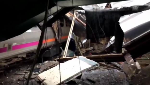 Video «Zug-Crash: Bilder vom Unfallort in Hoboken (unkomm.)» abspielen