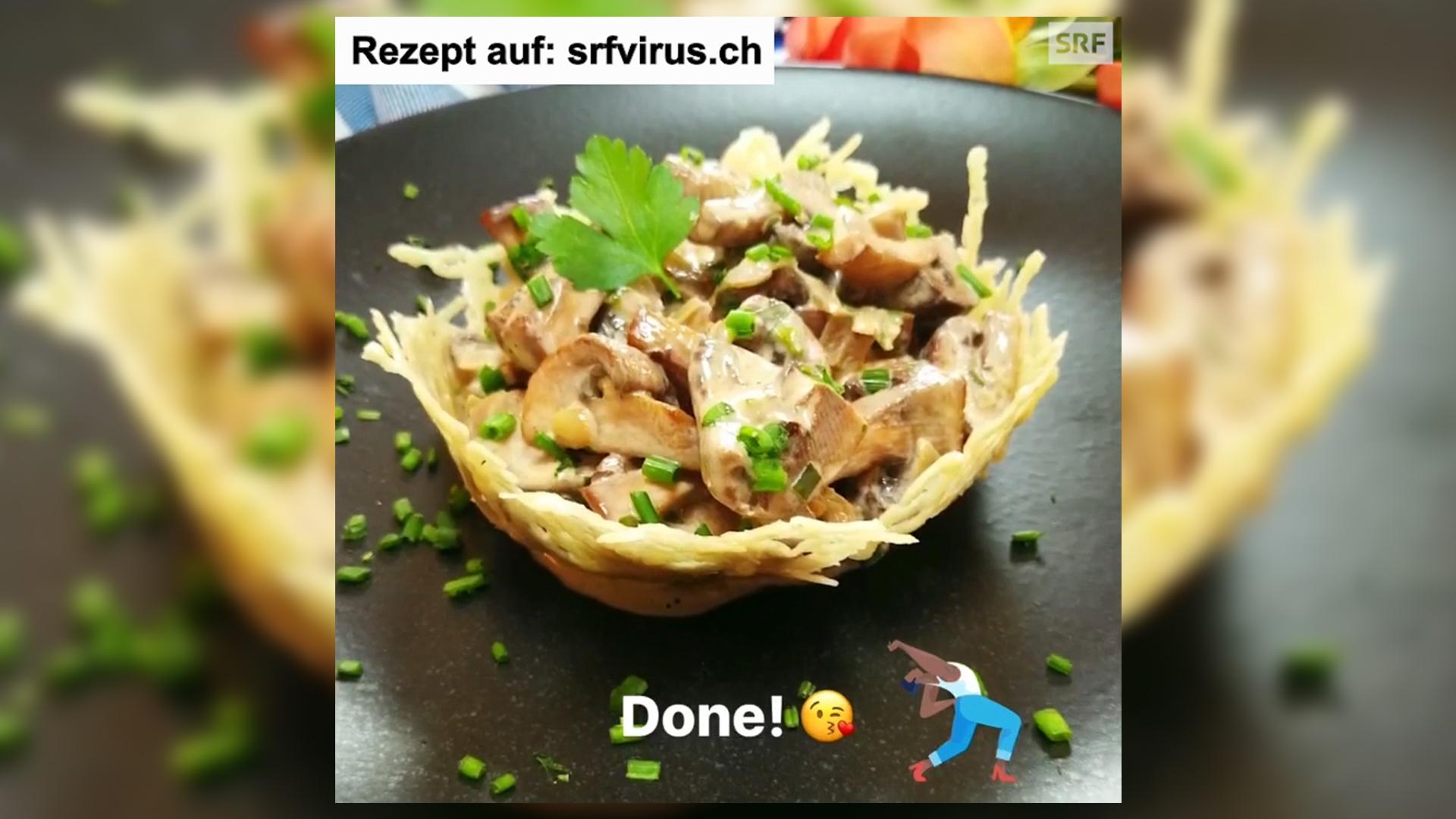 Pilz Salat im Parmesankorb – das ganze Rezept