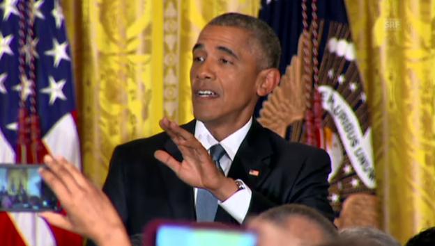 Video «Obama zu Zwischenrufer: «Sie sind in meinem Haus!»» abspielen