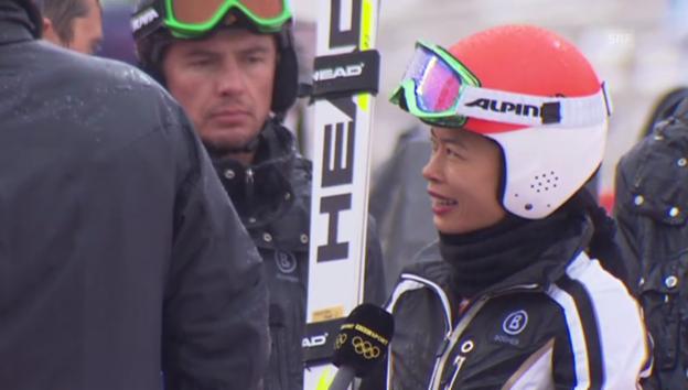 Video «Vanessa Mae und ihre Karriere als Skifahrerin» abspielen