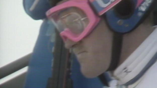 Video «Skispringen: Olympische Spiele 1988, Normalschanze, Sprung Michael Edwards» abspielen